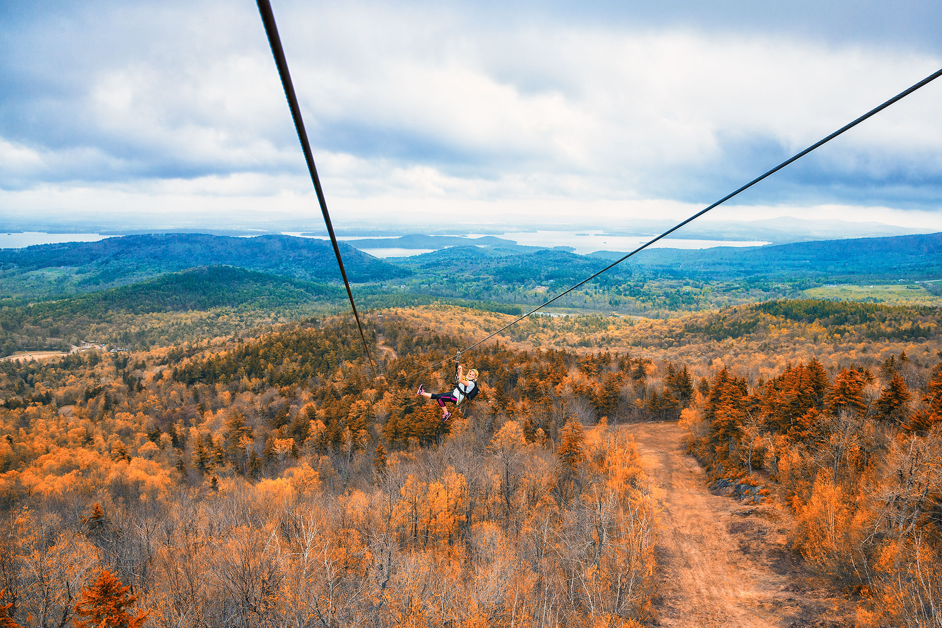 Zip Lining at Gunstock Mountain Resort, New Hampshire in travel photos by Kevin Brusie