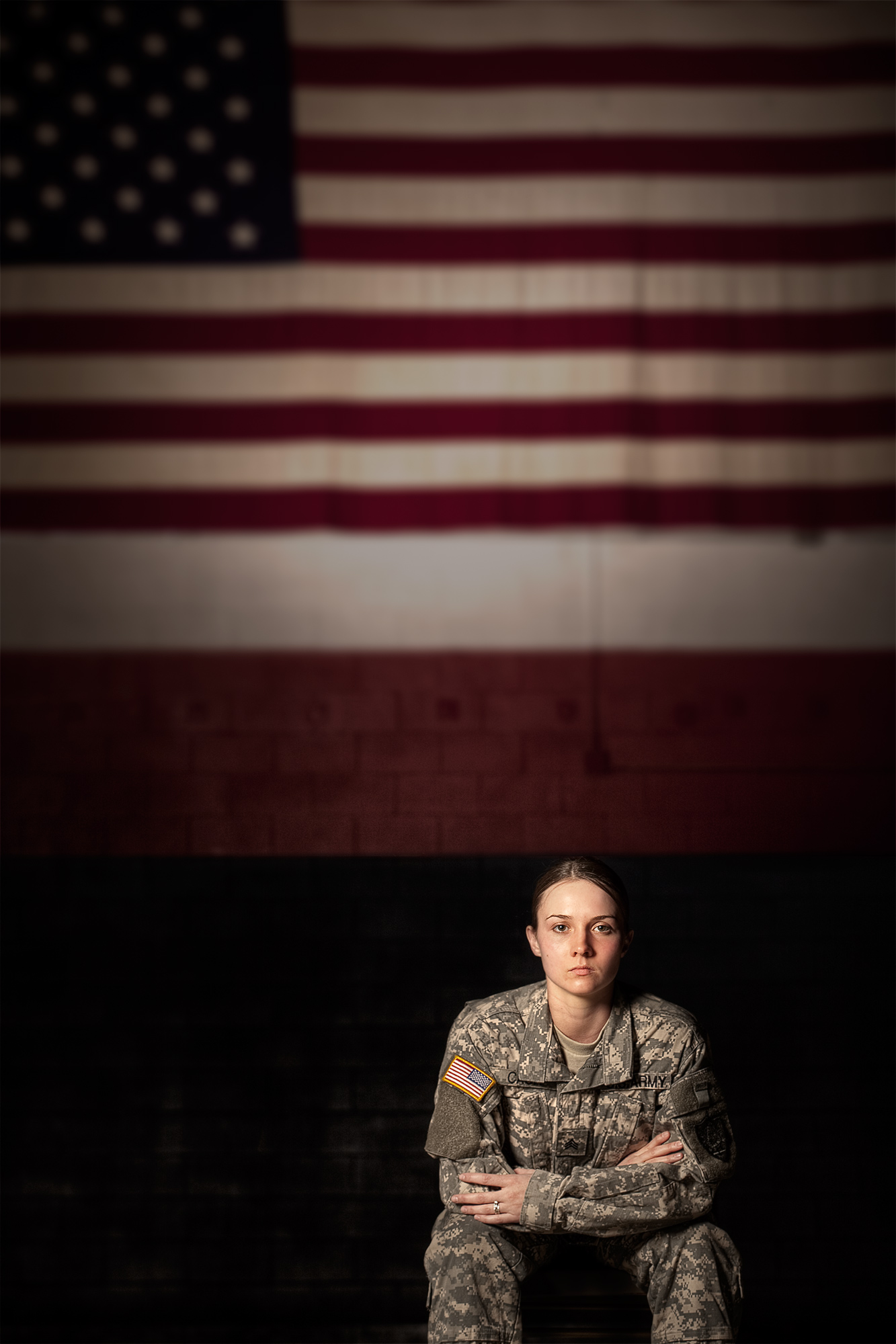 Portrait of female soldier, U.S Army for a magazine feature photographed by Kevin Brusie.