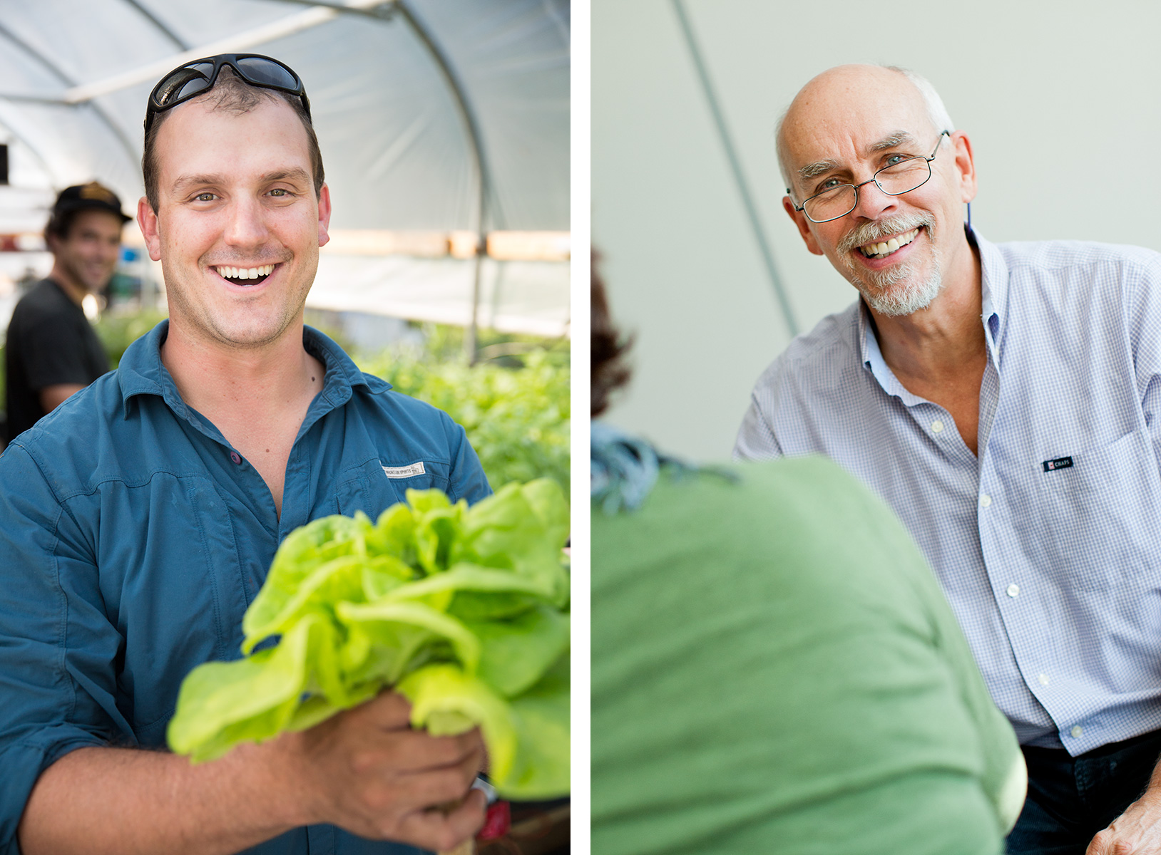 Business portraits of a fish farmer and an adult student for editorial