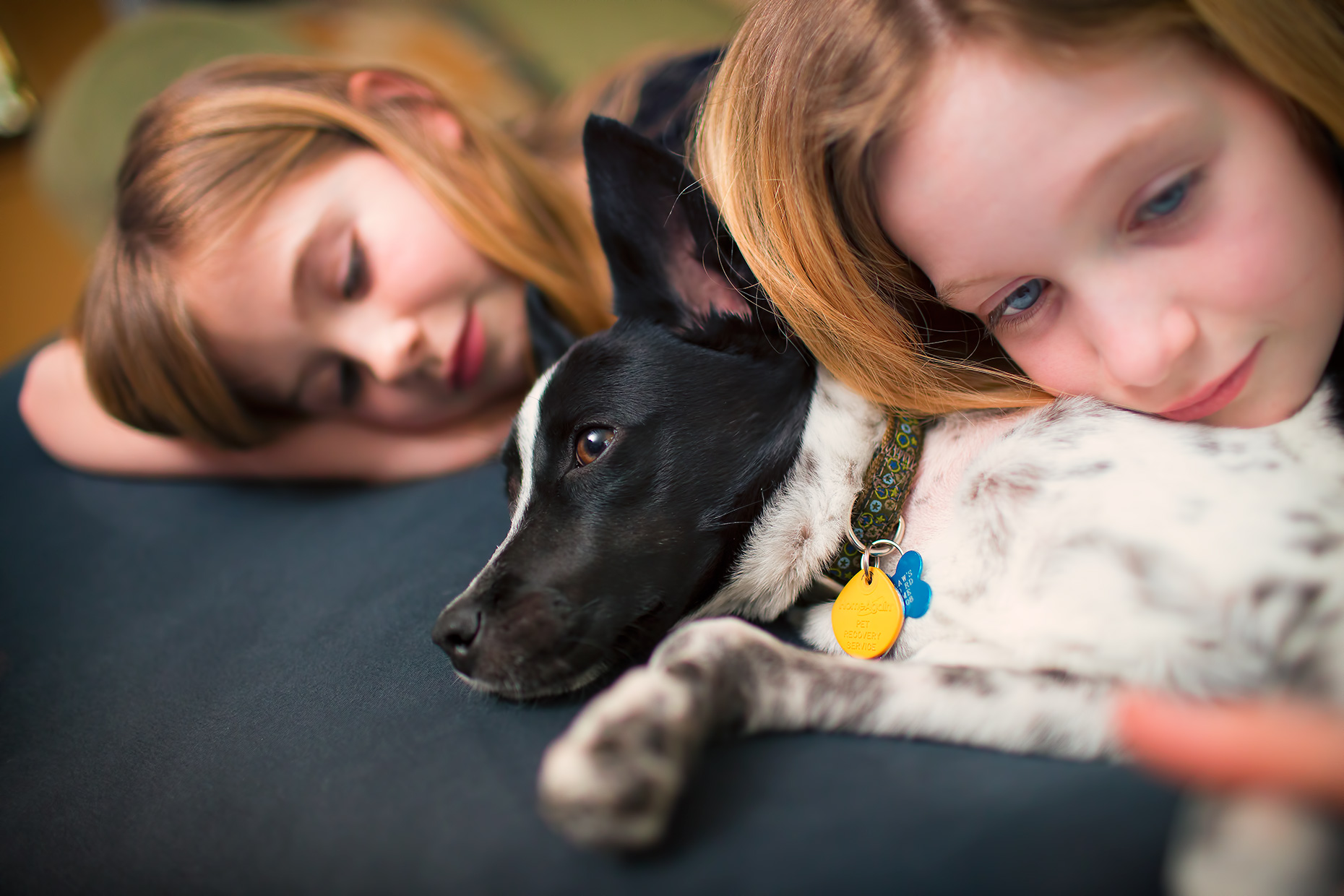 Two children snuggle with their rescue dog. Puppy love, as shot for IDEXX Laboratories, Inc