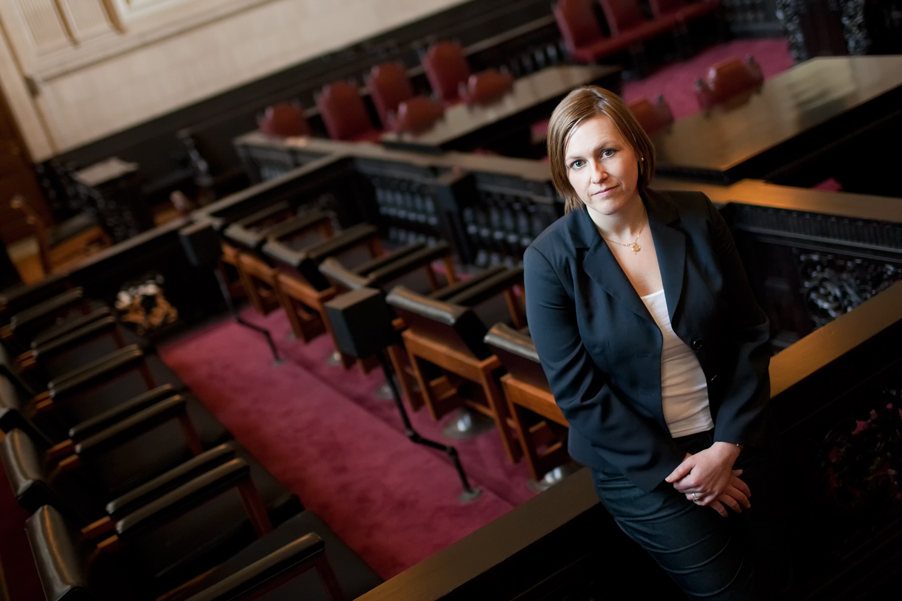 Editorial portrait for the National Law Journal of female lawyer in courtroom, Portland Maine