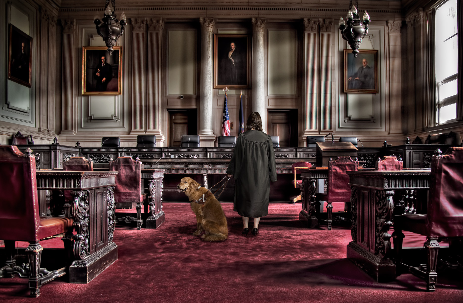 "Photo Illustration of ""Justice is Blind"" featuring our judge, and Thumper the Golden Retriever  guide dog. Created for a promotional image by Kevin Brusie"