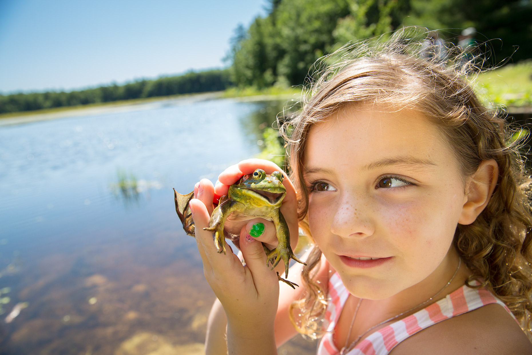 Young girl with bullfrog at a pond. Image created for The Trust for Public Land.
